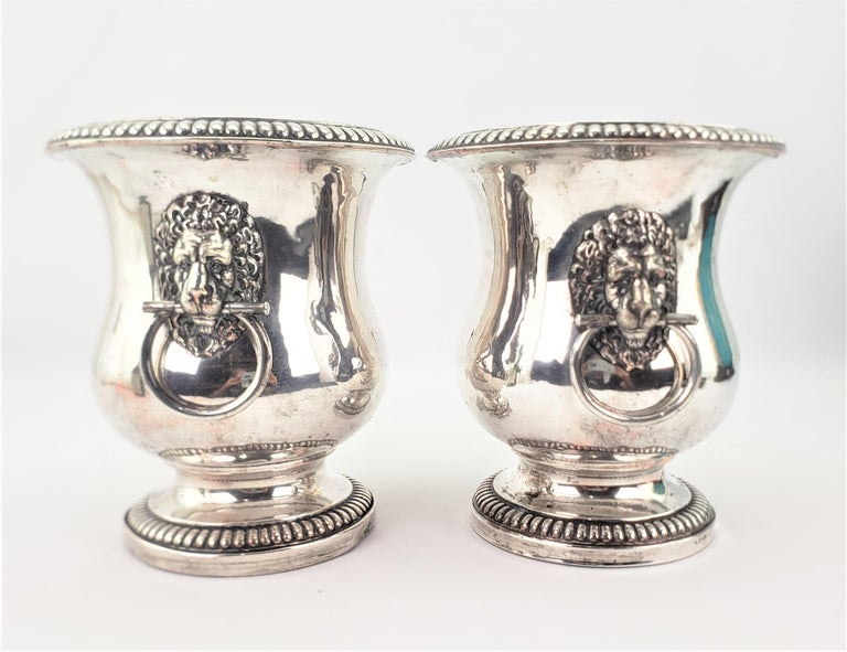 English Pair of Antique Sheffield Plated Wine Coolers with Lion Handles & Rope Accents For Sale