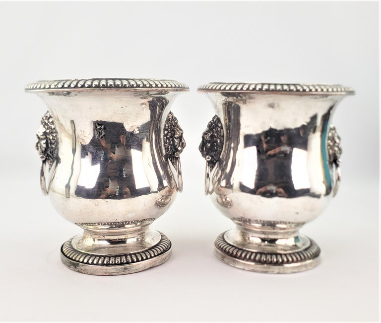 Machine-Made Pair of Antique Sheffield Plated Wine Coolers with Lion Handles & Rope Accents For Sale