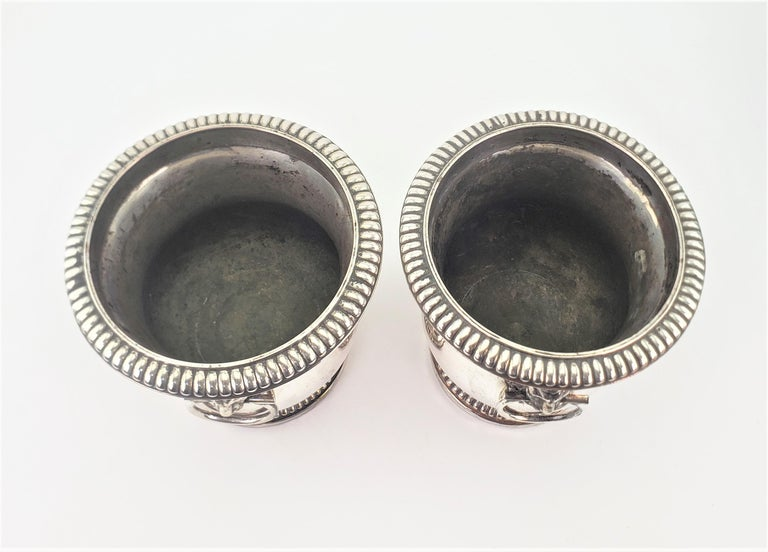 Pair of Antique Sheffield Plated Wine Coolers with Lion Handles & Rope Accents For Sale 1