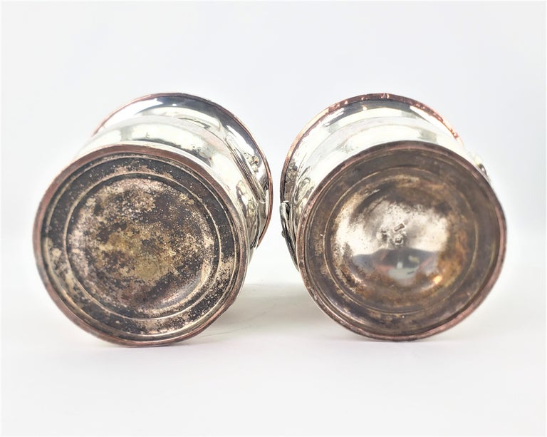 Pair of Antique Sheffield Plated Wine Coolers with Lion Handles & Rope Accents For Sale 2
