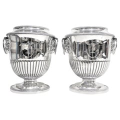Pair of Antique Sheffield Regency Style Silver Plated Wine Coolers