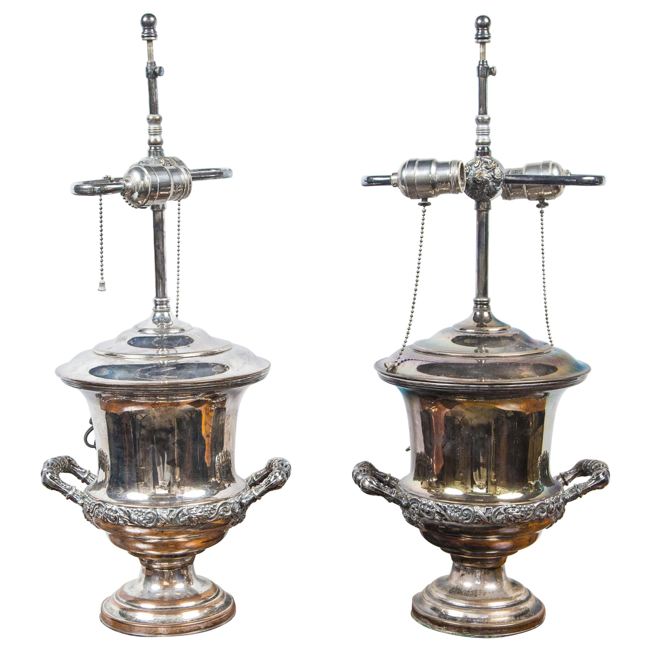 Pair of Antique Sheffield Wine Coolers