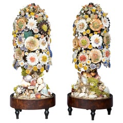 Pair of Antique Shellwork Flower Sculptures