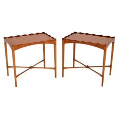 Pair of Antique Sheraton Style Satin Wood Side Tables