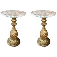Pair of Antique Side Tables on Carved and Gilded Wooden Foot with Marble Top