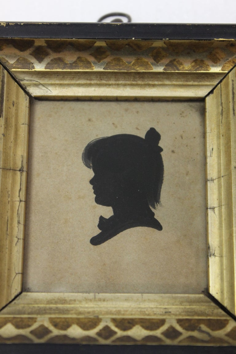 Pair of Antique Silhouette Miniatures In Good Condition For Sale In East Hampton, NY