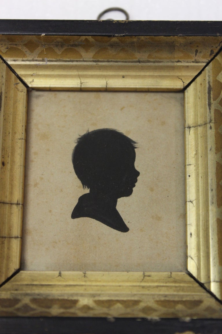 Pair of Antique Silhouette Miniatures For Sale 1