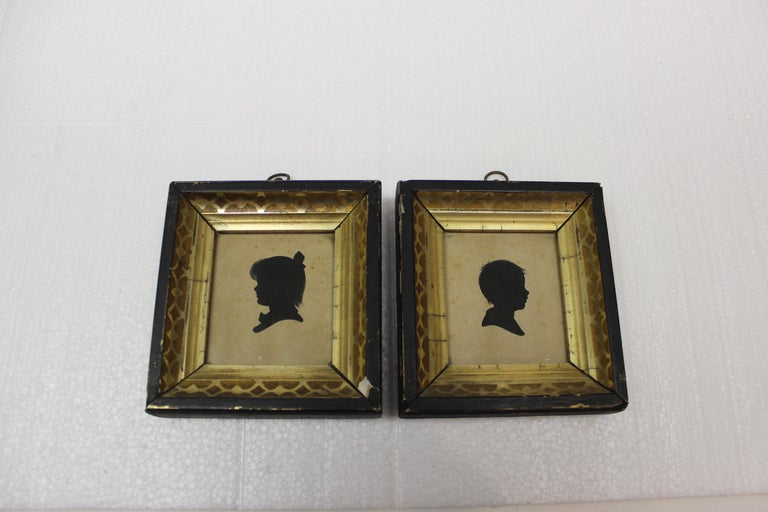 Pair of Antique Silhouette Miniatures For Sale 2
