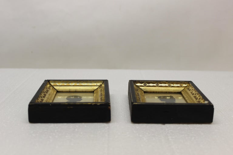 Pair of Antique Silhouette Miniatures For Sale 3