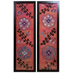 Pair of Antique Silk Suzani Wall Hanging