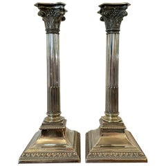 Pair of Antique Silver Plated Corinthian Candlesticks