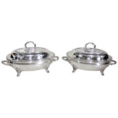 Pair of Antique Silver Plated Dixon & Sons Sheffield Covered Entree Servers