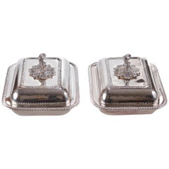 Pair of Antique Silver Plated Serving Dishes