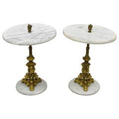 Pair of Antique Small Bronze and Marble Figural Italian Renaissance Side Tables