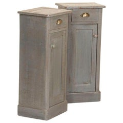 Pair of Antique Small Narrow Original Gray Painted Nightstands