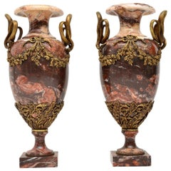 Pair of Antique Solid Marble and Gilt Bronze Urns