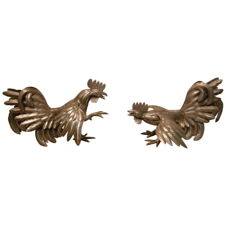 Pair of Antique Solid Silver Cockerels or Roosters in an Attitude of Fighting For Sale