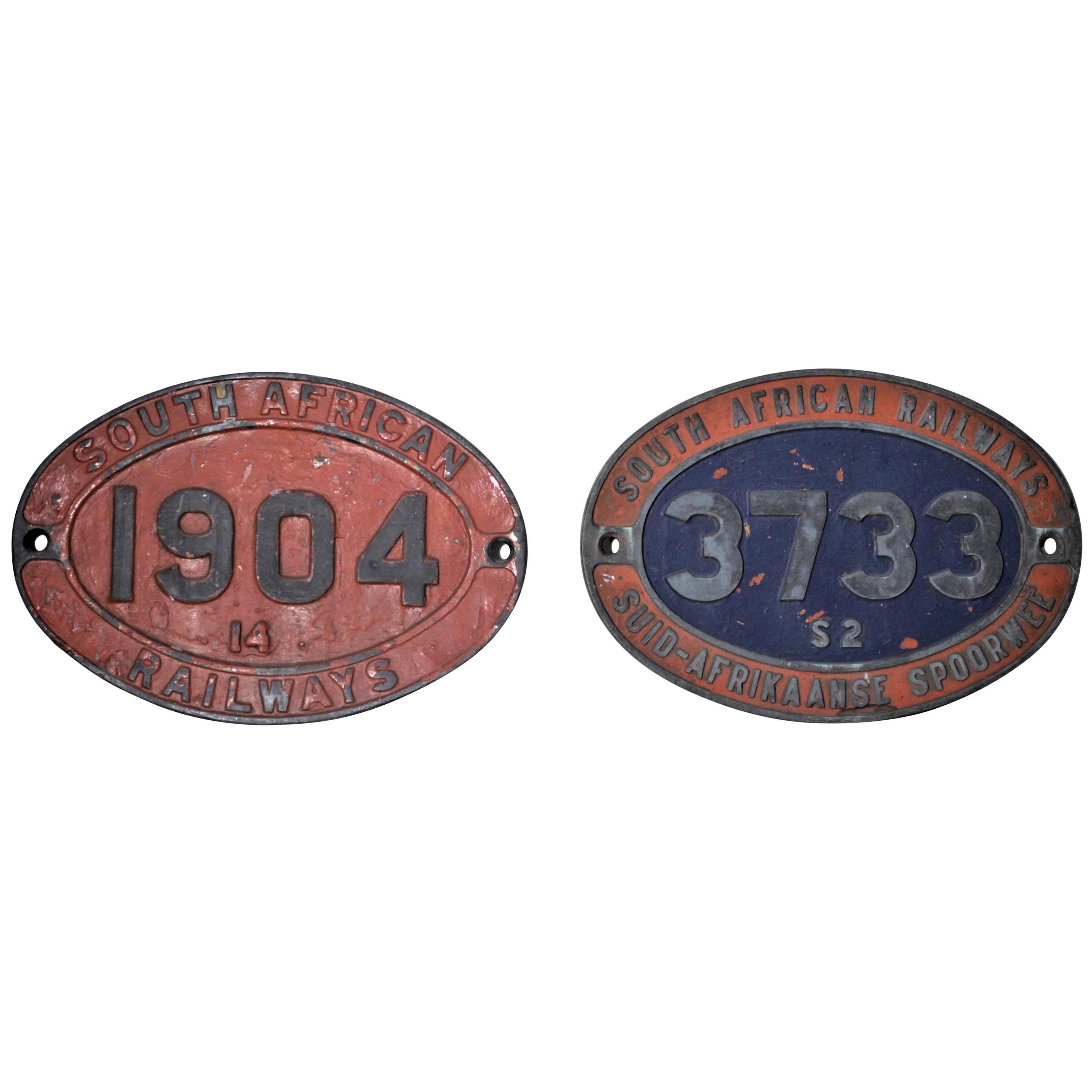 Pair of Antique South African Railway Cast Iron Locomotive Plaques or Badges