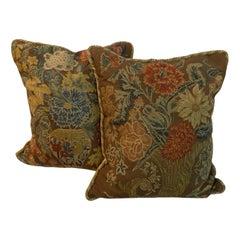 Pair of Antique Square Needlework Cushions