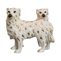 Pair of Antique Staffordshire Dogs English Ceramic Decorative Figure, circa 1900