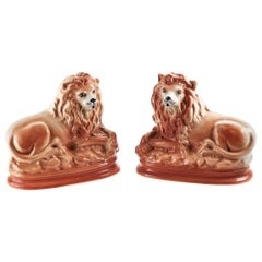 Pair of Antique Staffordshire Lions