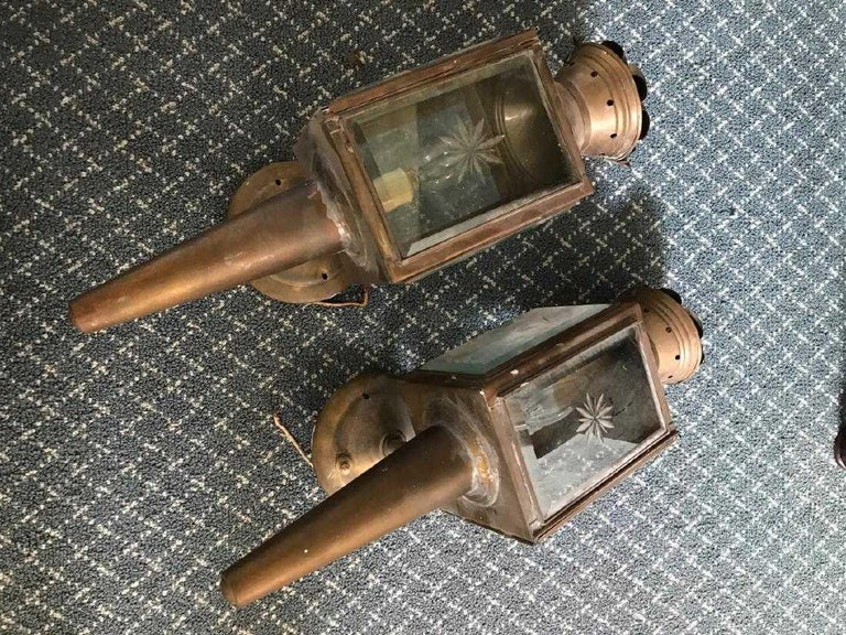 Other Pair of Antique Star Pattern Cut Glass Carriage Light Wall Sconces For Sale