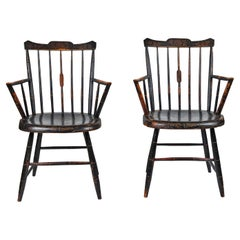 Pair of Antique Stencil Fan Back Windsor Chairs