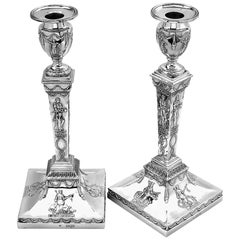 Pair of Antique Sterling Silver Candlesticks 1901 Candleholders