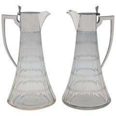Pair of Antique Sterling Silver Claret Jugs by William Hutton & Sons, 1907-1909