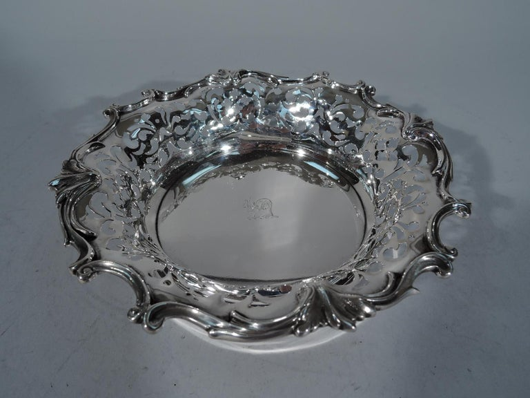 Victorian Pair of Antique Sterling Silver Wine Coasters by Howard of New York For Sale