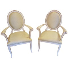 Pair of Antique Style Armchairs with Gold Details