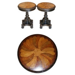Pair of Antique Style Speciamine Wood Topped Occasional Side Lamp Wine Tables