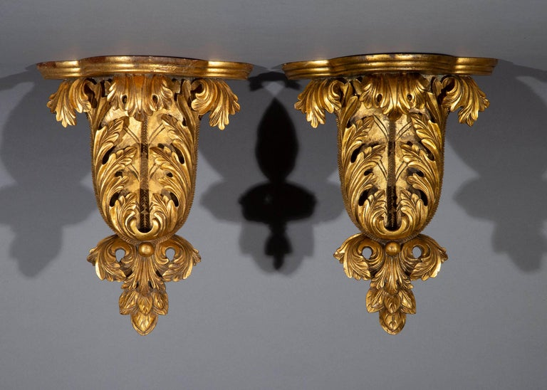 Hollywood Regency Pair of Antique Style Wall Brackets or Sconces