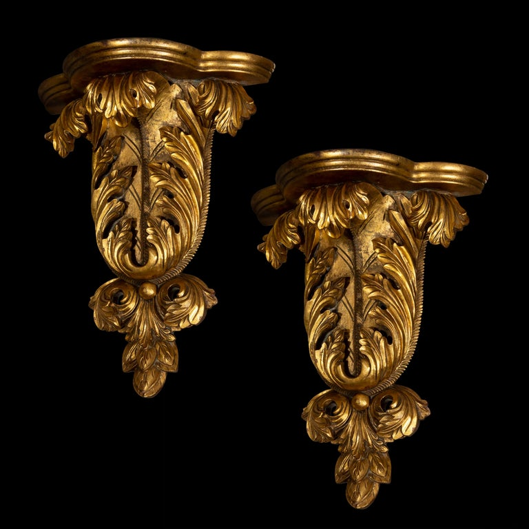 Italian Pair of Antique Style Wall Brackets or Sconces