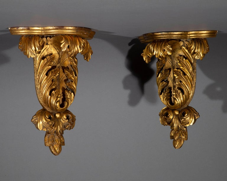 Carved Pair of Antique Style Wall Brackets or Sconces