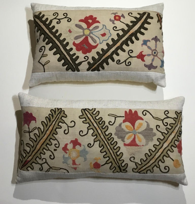 Pair of Antique Suzani Pillows For Sale 6