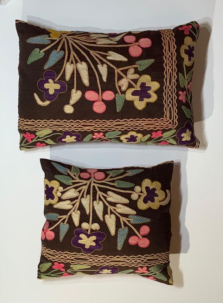 Uzbek Pair of Antique Suzani Pillows For Sale