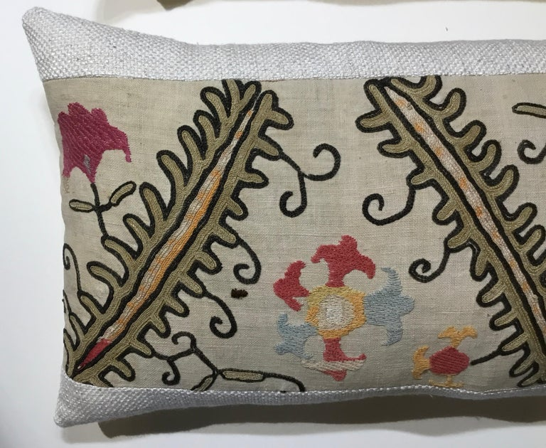 Cotton Pair of Antique Suzani Pillows For Sale