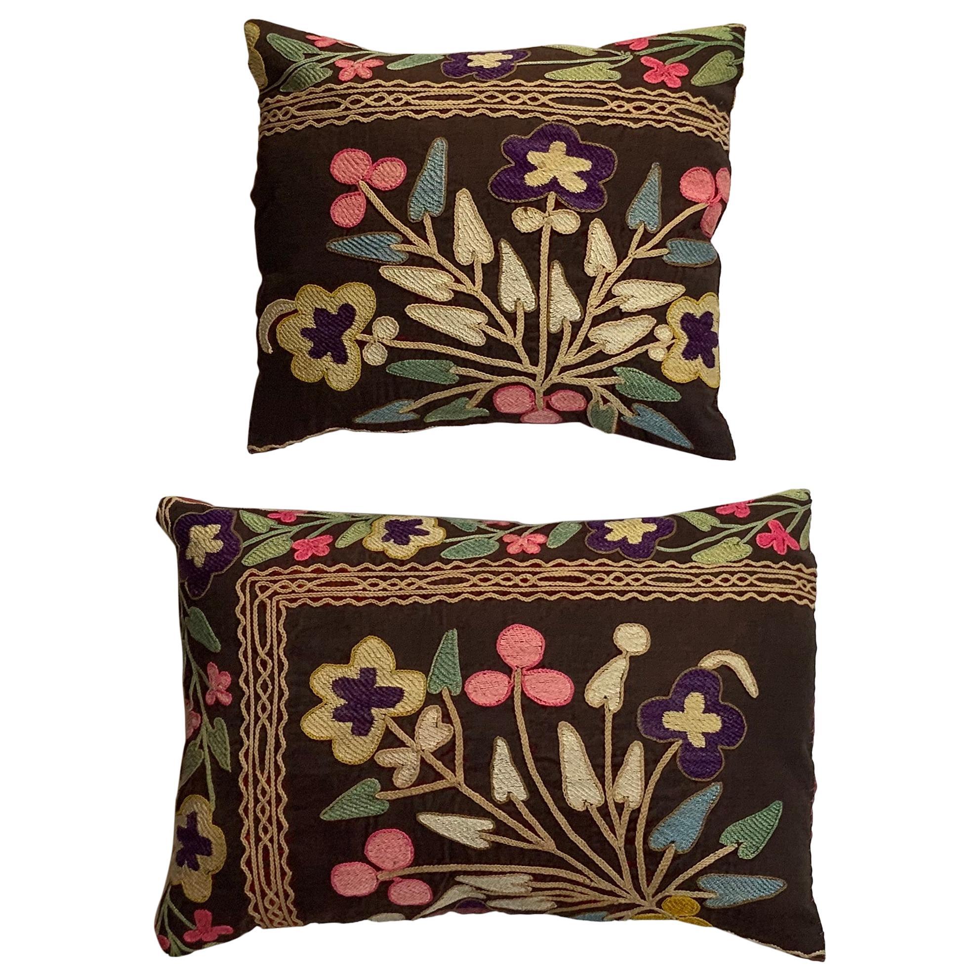 Pair of Antique Suzani Pillows