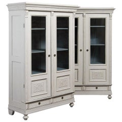 Pair of Antique Swedish Bookcases / Armoires Painted White