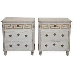 Pair of Antique Swedish Gustavian Style Painted Chests with Greek Key