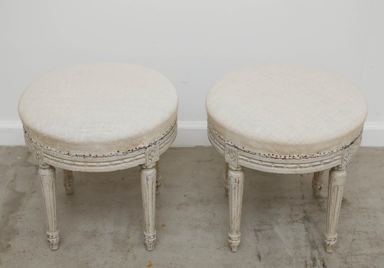 Pair of Swedish Gustavian style white/cream distressed painted stools. With carved rosette on top of each carved round fluted leg. Round seats are filled with original horsehair and covered in period woven muslin fabric, late 19th
