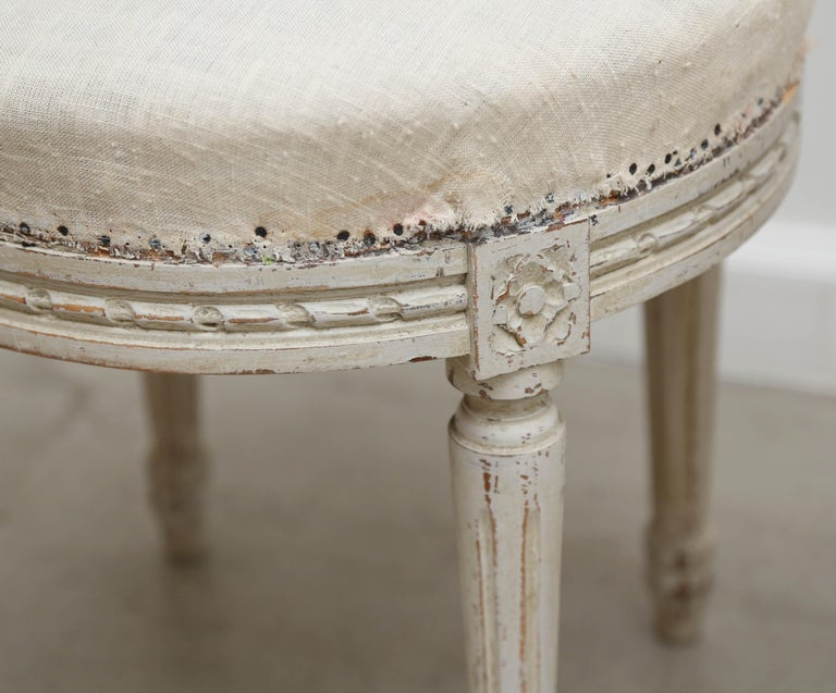 Pair of Antique Swedish Gustavian Style Painted Round Stools, Late 19th Century For Sale 2