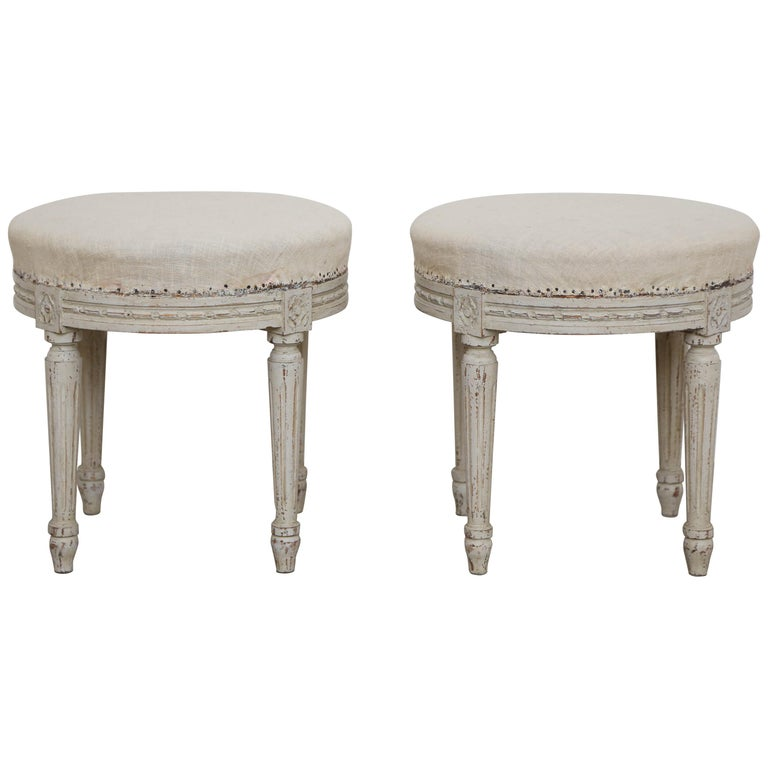 Pair of Antique Swedish Gustavian Style Painted Round Stools, Late 19th Century For Sale
