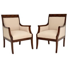 Pair of Antique Swedish Inlaid Mahogany Armchairs