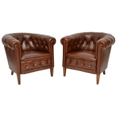 Pair of Antique Swedish Leather Armchairs