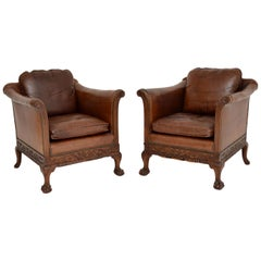 Pair of Antique Swedish Leather & Mahogany Armchairs