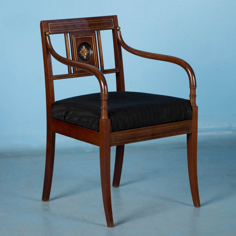 Pair of Antique Swedish Mahogany Armchairs In Good Condition For Sale In Denver, CO