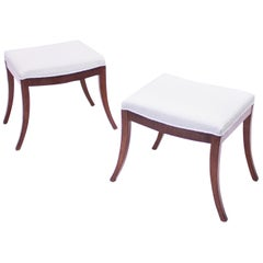 Pair of Antique Swedish Mahogany Stools with Bouclé Seats, circa 1830s