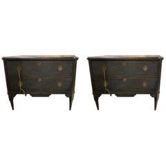 Pair of Antique Swedish Neoclassical Painted Chests